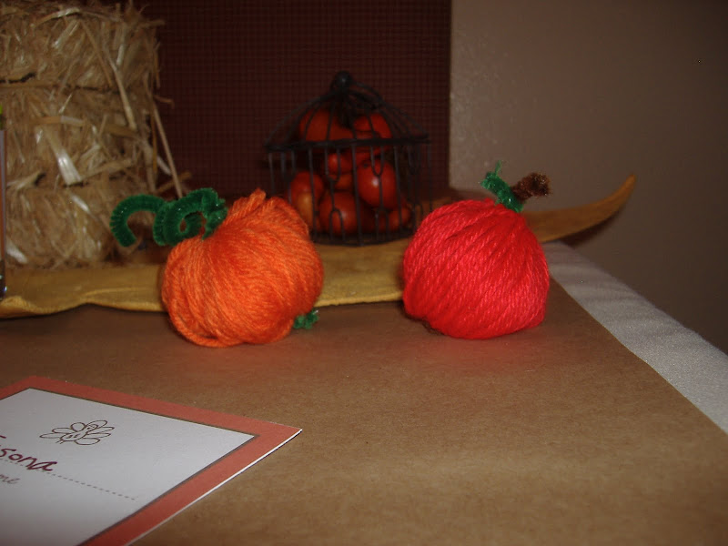 yarn apple and pumpkin