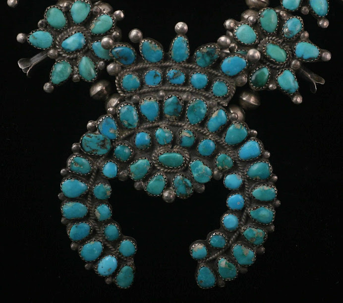 1930's Old Pawn Petit Point Squash Blossom Necklace