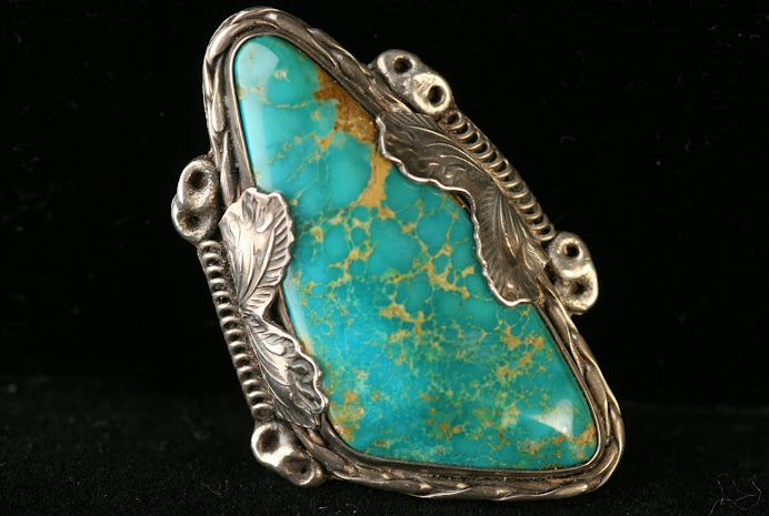 1950's Effie Calavaza BLUE GEM Necklace Pendant