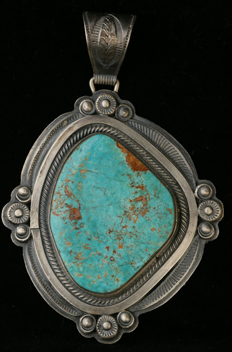 Wallace Yazzie Sterling Silver Turquoise Necklace Pendant