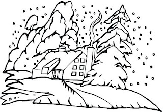 xmas snow house coloring printable