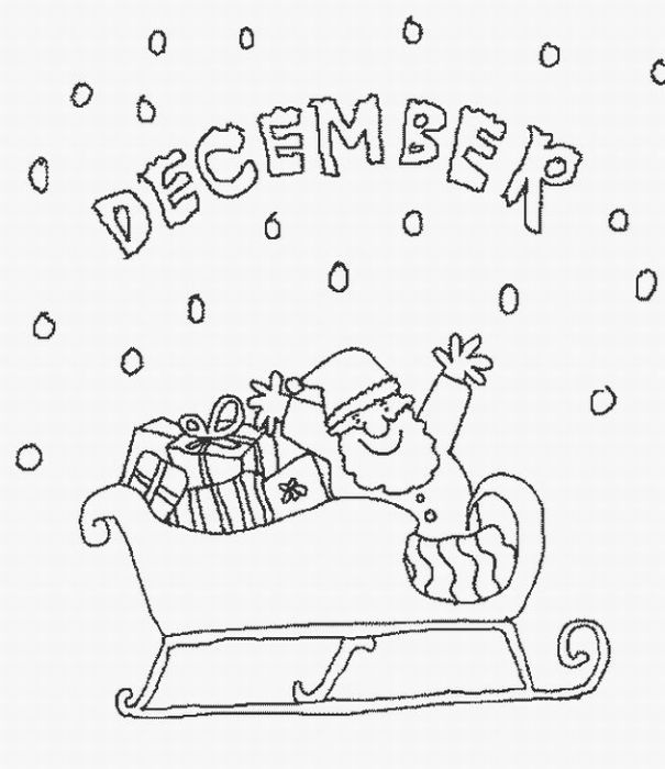 santa riding cart coloring page title=