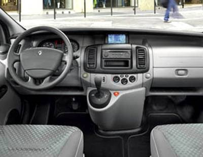 The interior features the latest generation of the Renault Trafic through