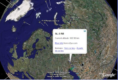 position des satellites dans google earth