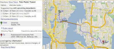 google transit integre a google maps