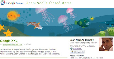 google reader elements partages