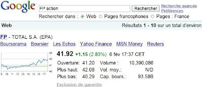 Onebox Google affichant les cotations boursières des sociétés françaises