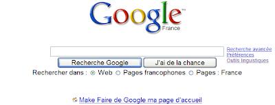 Google Recherche sur le Web