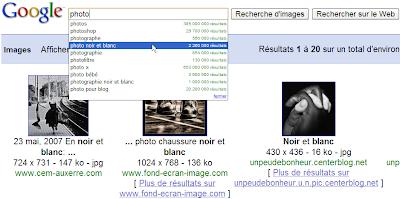Des suggestions de recherche dans Google Images