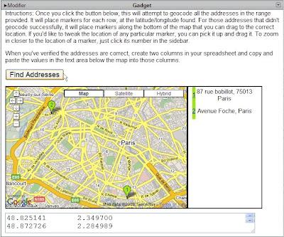 Geocoder des adresses avec Google Tableur