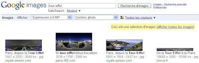 Format des images dans Google Images