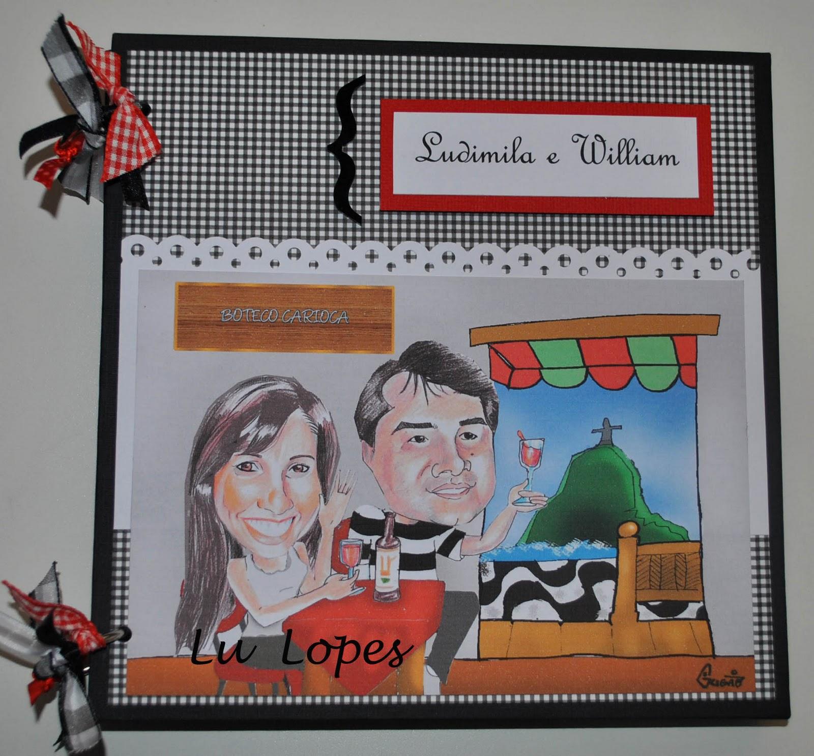 decorar um boteco:Caricaruta do casal para decorar a capa do livro de mensagens.