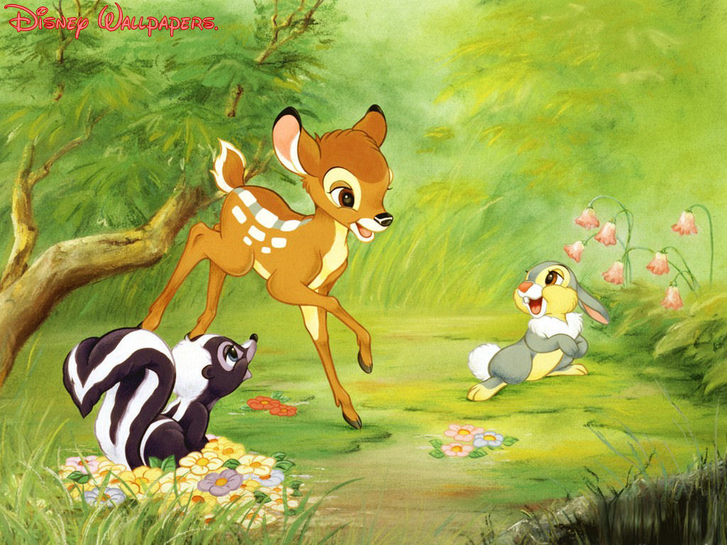 Bambi Thumper And Flower Wallpaper