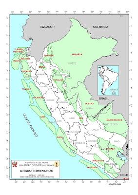 Mapa de las cuencas sedimentarias del Peru
