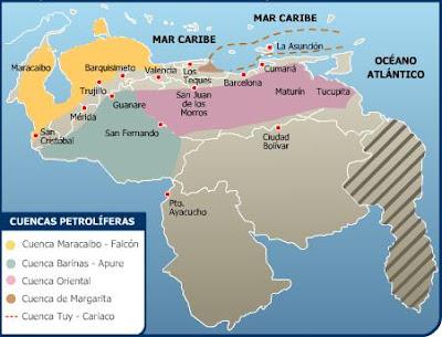 Mapa de las cuencas sedimentarias de Venezuela