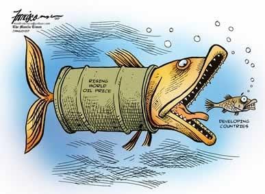 caricatura del precio del petroleo