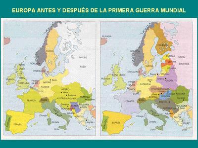 mapa de europa antes y despues de la primera guerra mundial