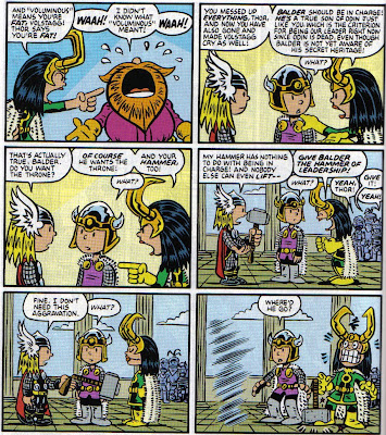 I can't remember if Balder can lift Mjolnir; if not, Loki's gonna have to chew off that foot...