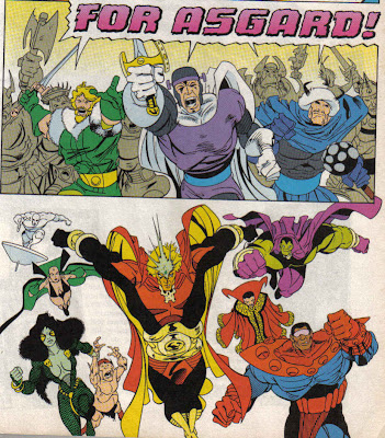 Granted, this is a fight issue, but that's the only dialog Balder and the Warriors Three get in this crossover.