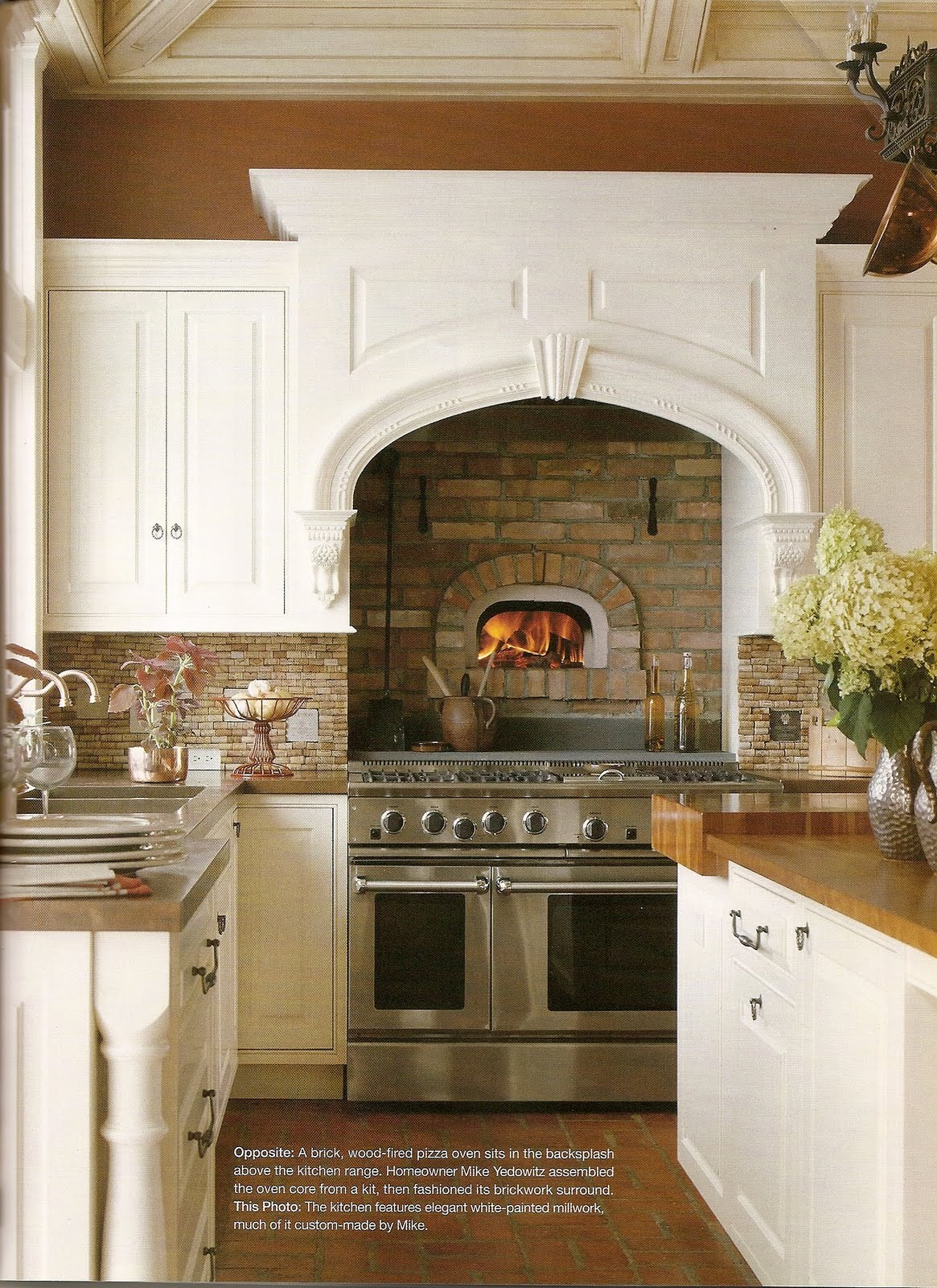 Built in brick wood fire oven a cook 39 s kitchen or just for Built in kitchen designs