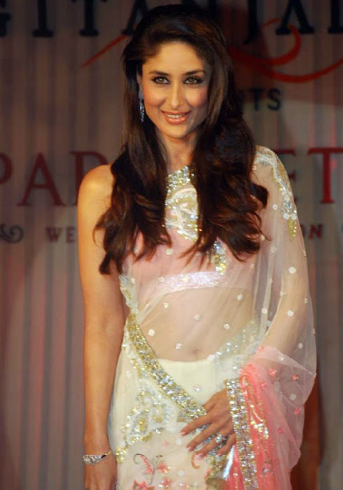 Kareen Kapoor in a Cream Transparent Chammak Challo Saree kareena kapoor hot photoshoot