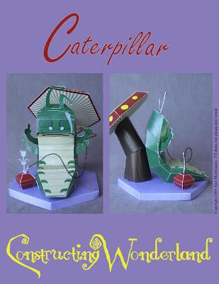 Papercraft imprimible y armable del personaje de Disney, Caterpillar. Manualidades a Raudales.