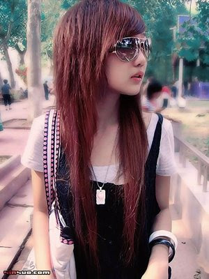 asian hairstyle for women. China Girl with Emo hairstyle