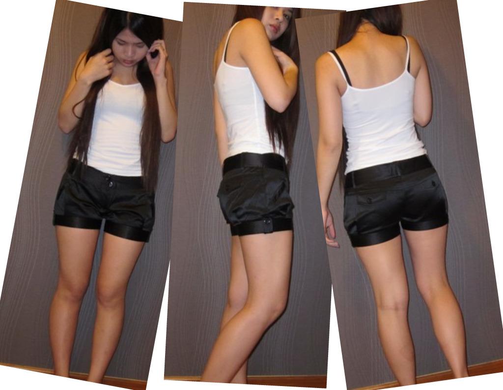 Black Satin Shorts