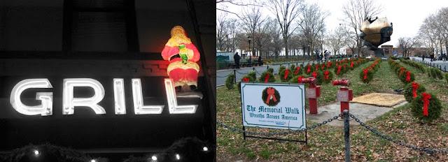 santa statue & wreaths