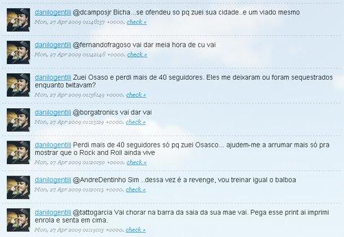 Danilo Gentili dando piti no twitter