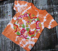 Peace Love & Flowers on Orange TieDye