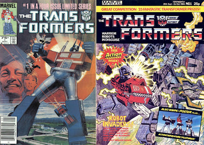 The Transformers issue #1 in the US (left) and the UK (right)