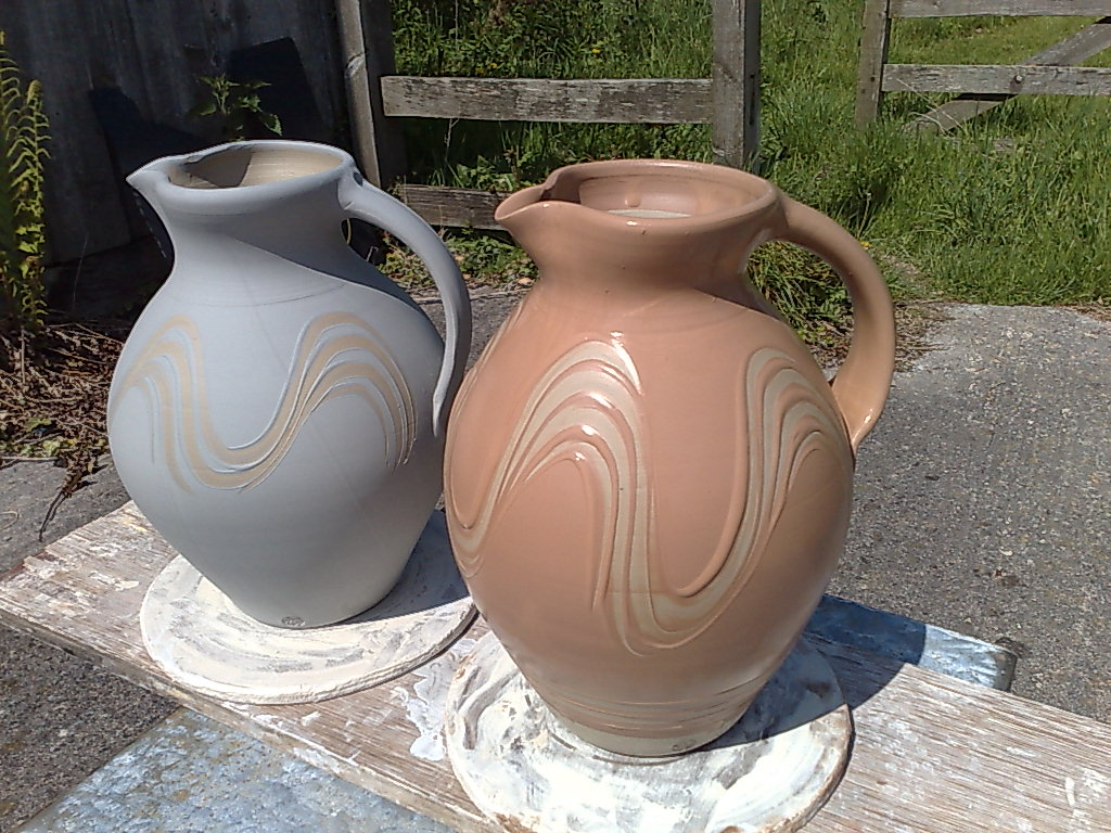 nuttgens ceramics: continuing work on the big jugs.