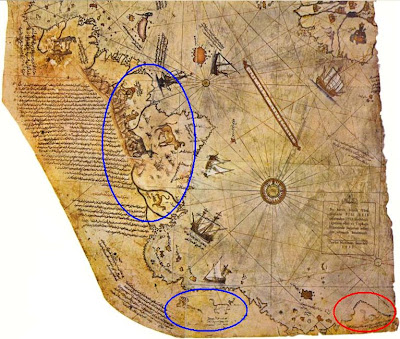 South America, detail Piri Reis map