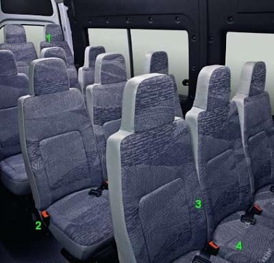 Sièges arrières Master bus 16 places Brésil
