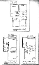floor plans for 1, 2, & 3 bdrm units at the Crystal Lake Apts.