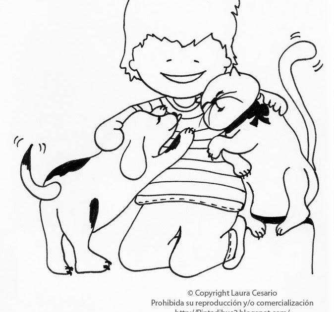 Dibujos para imprimir y colorear: Dibujo de un niño jugando con un ...