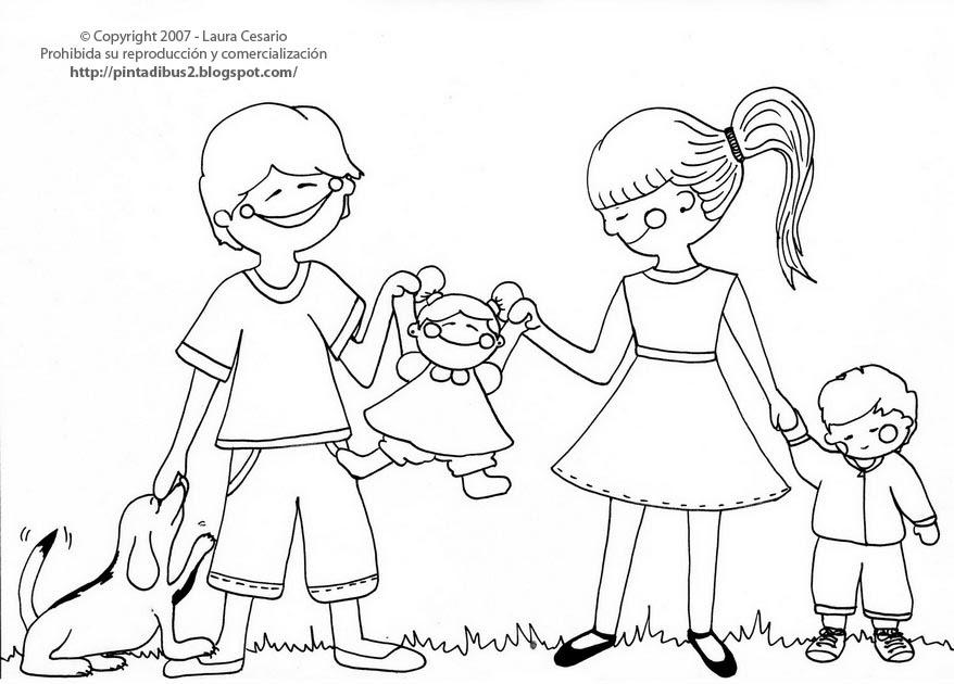 paint a drawing: Dibujo para imprimir y colorear de una familia