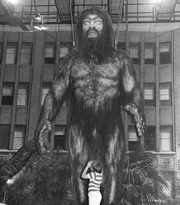 A larger-than-life (we hope!) model of Bigfoot on display outside a US museum.