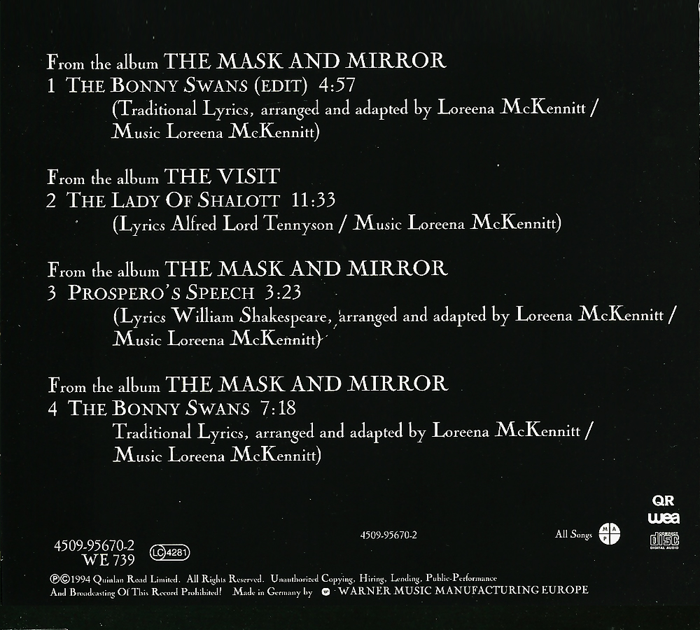 loreena mckennitt collection 1994 the bonny swans single 1