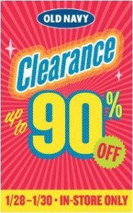 Old Navy: Up to 90% Winter Clearance (1/25 1/30)