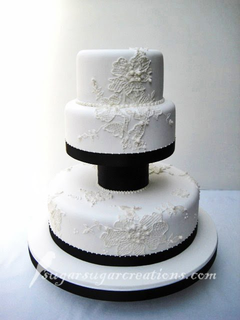 Black and White Lace Applique Wedding Cake