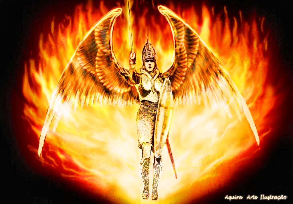 uma versão de um anjo guerreira baseada no desenho do anjo guerreiro ...
