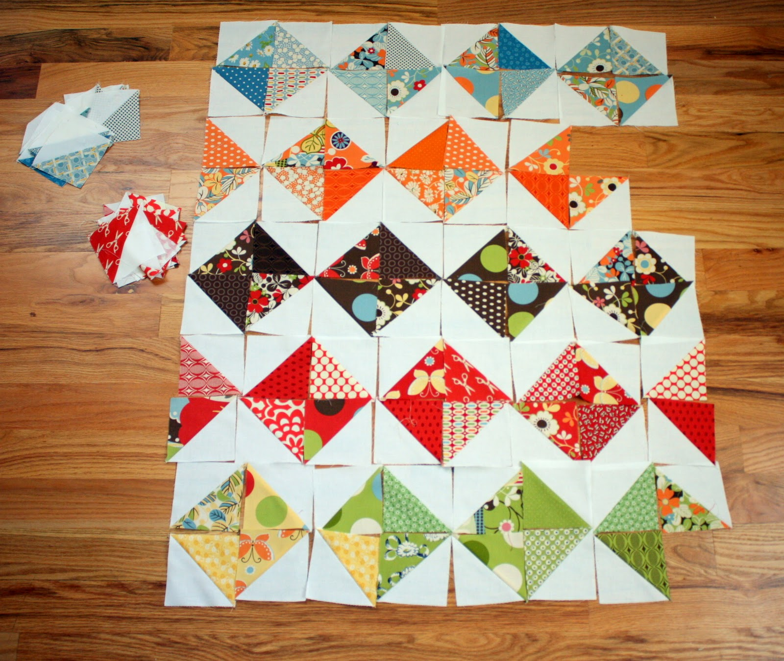 Quilt Patterns Using Squares And Triangles : Playing with Half-Square Triangles - Diary of a Quilter - a quilt blog