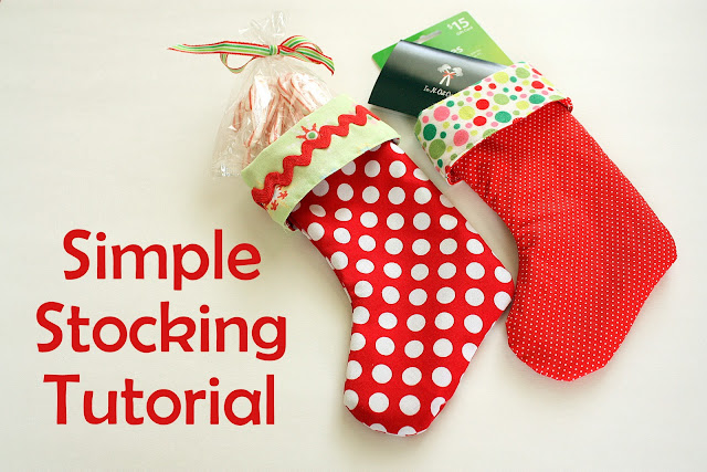 simple lined stocking with red and green material
