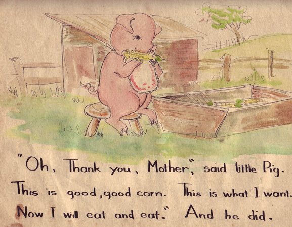 "from ""The hungry little pig"""
