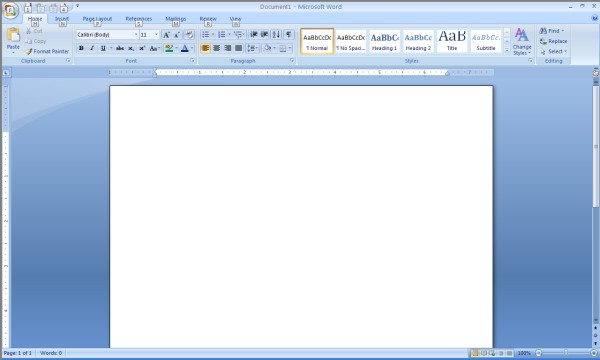 Microsoft Menu and Toolbar