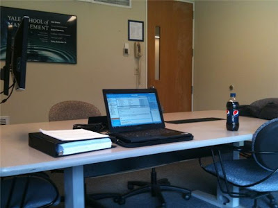 A breakout room at the Yale School of Management