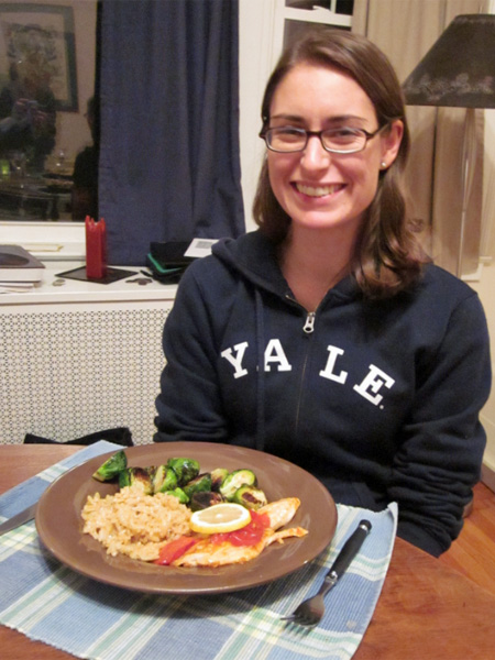 Suzanne with a delicious dinner