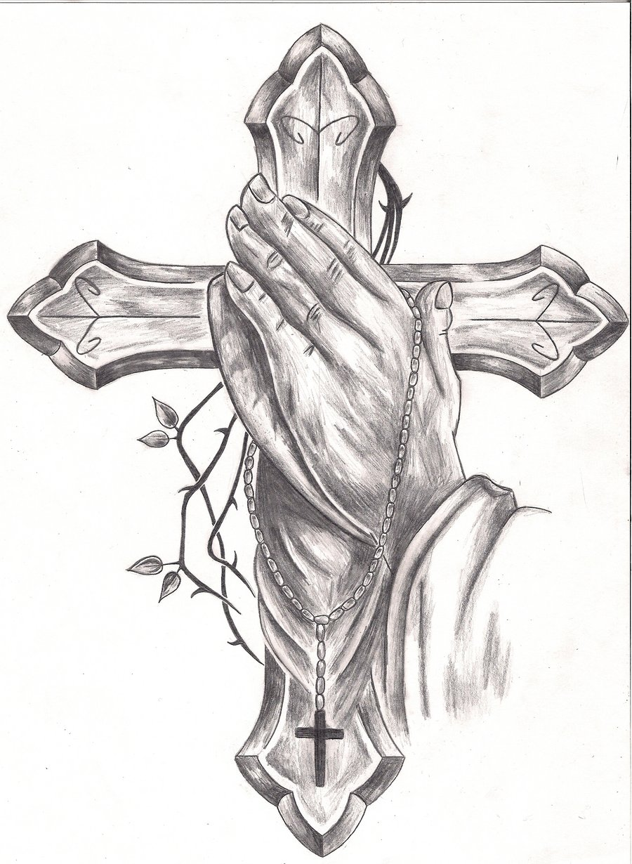 Cross Tattoos With Praying Hands Drawing Images amp Pictures